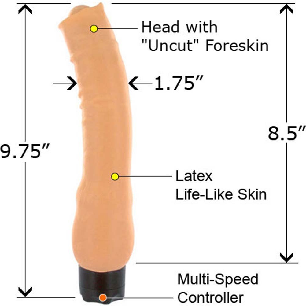 Euro Cock Uncut Waterproof Vibe 9.75 In. - View #2