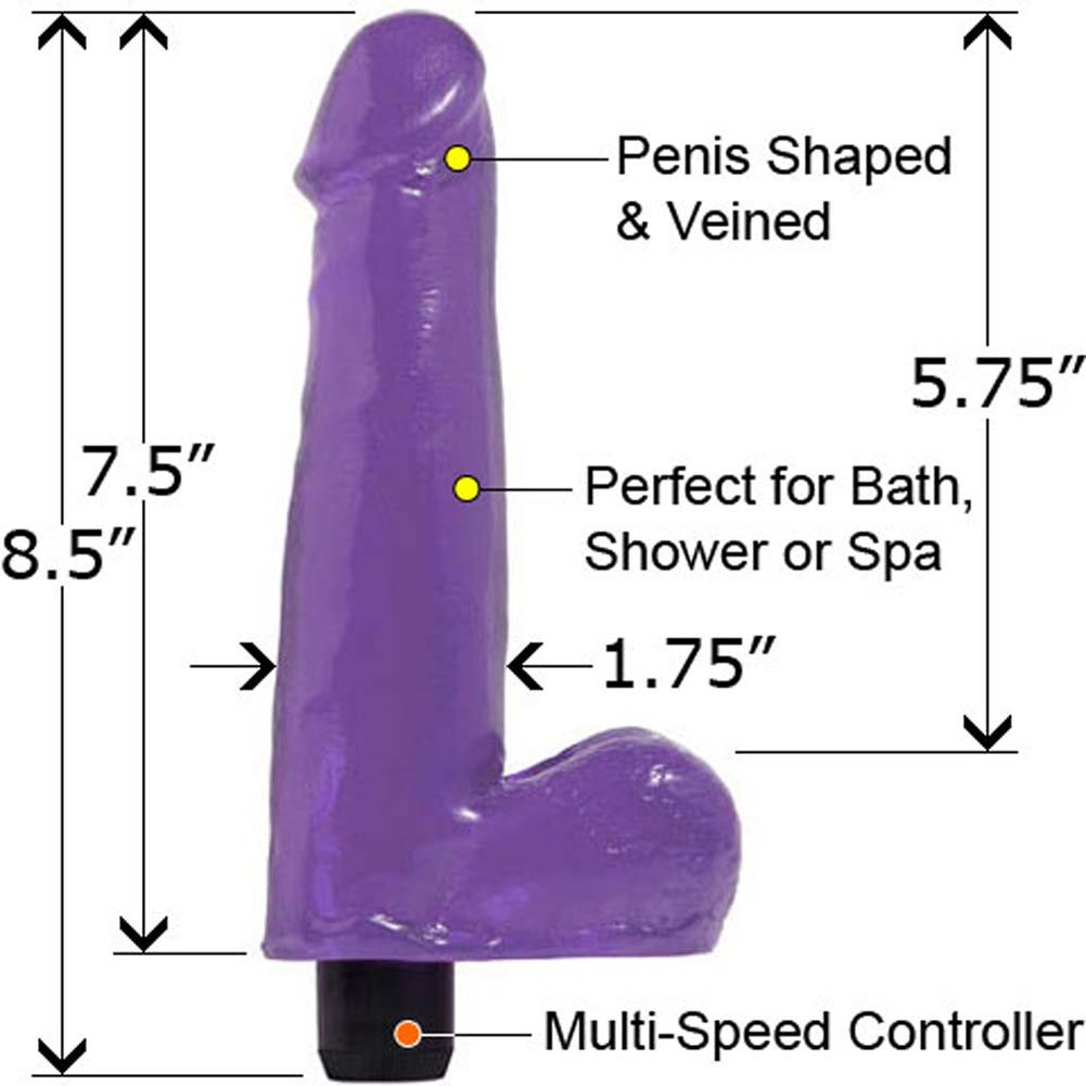 "Basix Rubber Works Waterproof 7.5"" Vibrating Dong Purple - View #2"