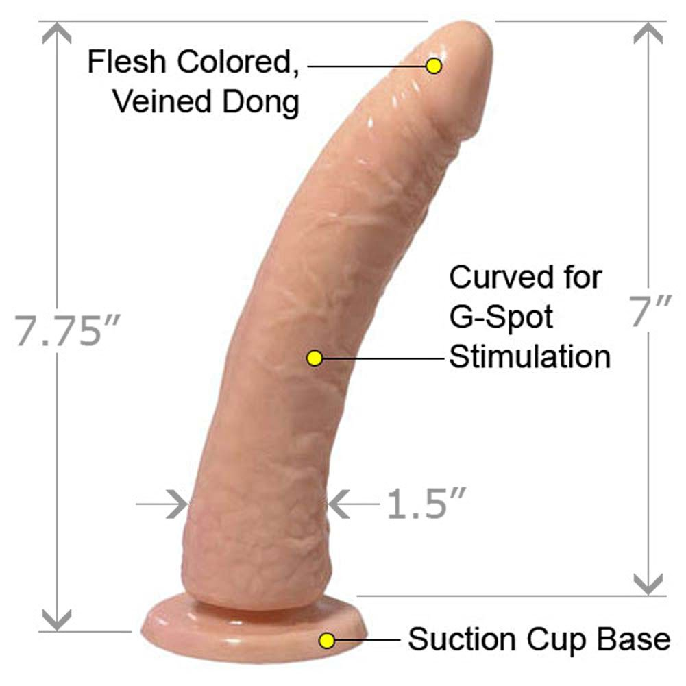 "Basix Rubber Works 7"" Slim Dong With Suction Cup Natural - View #1"