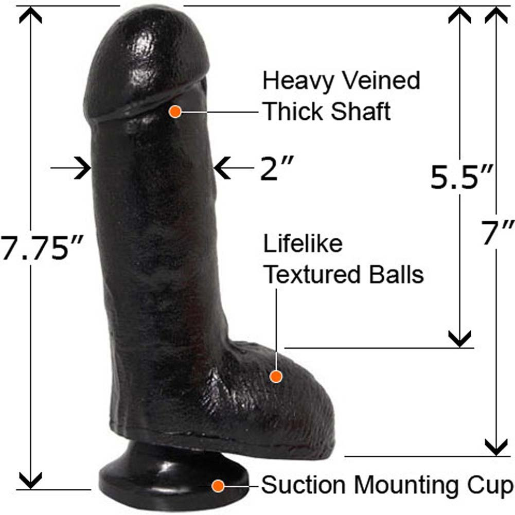 "Basix Rubber Works Big 7"" Dong with Balls Ebony - View #2"
