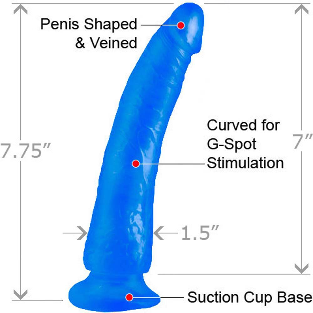 "Basix Rubber Works 7"" Slim Dong With Suction Cup Blue - View #1"
