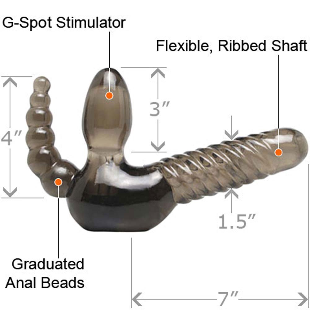 Fetish Fantasy G-Spot Strapless Strap-On with Anal Stimulator Smokie Grey - View #1