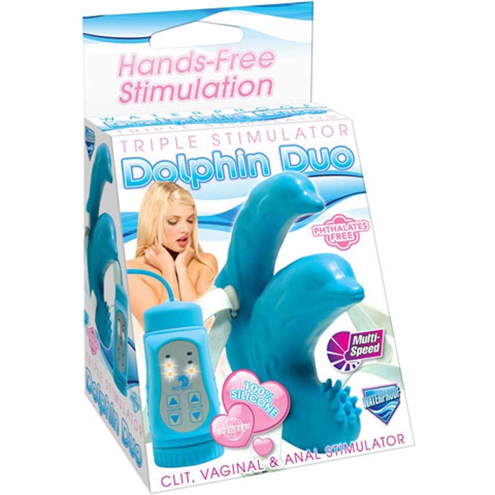 Triple Stimulator Dolphin Duo Strap-On Waterproof Vibe - View #4