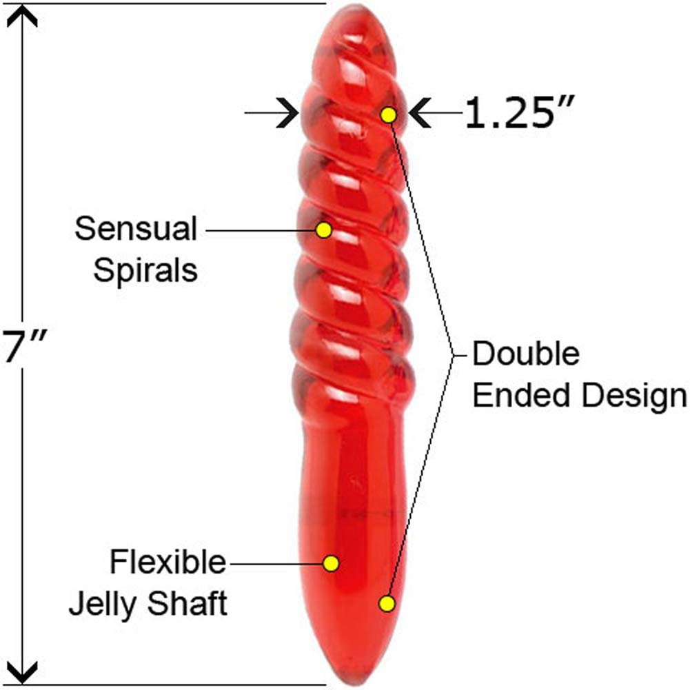 "Flex Jelly Fun Ribbed Spiral Ultra Glossy Probe 7"" Red - View #2"