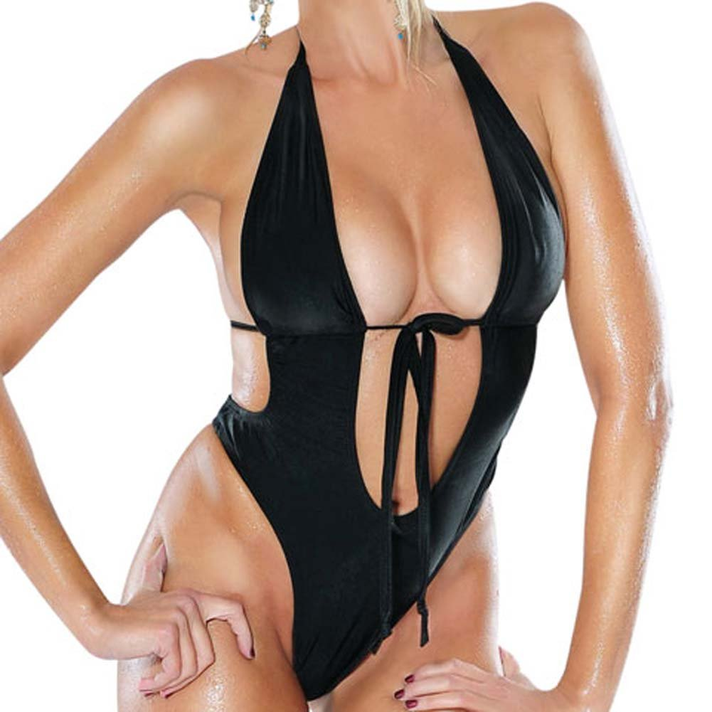 Fetish Fantasy Series Vibrating Monokini Swimsuit One Size Black - View #3