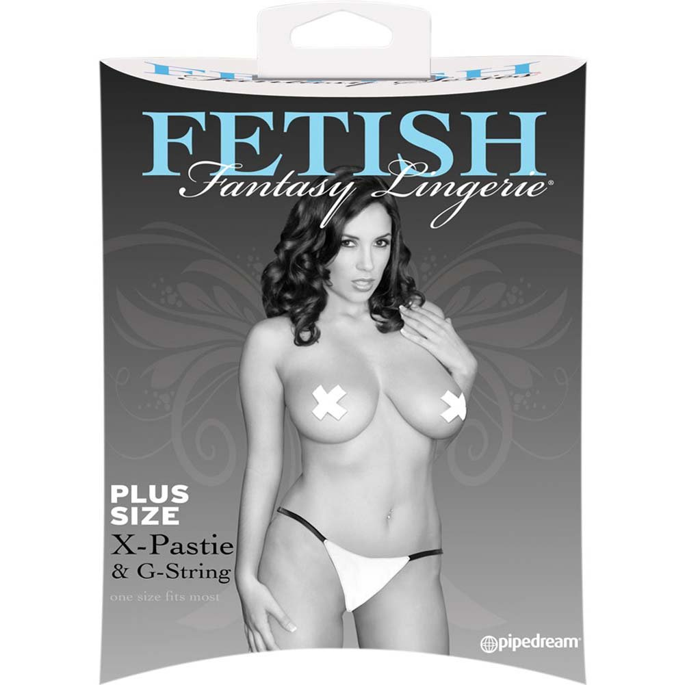 Fetish Fantasy Lingerie X Pastie and GString White Plus Size - View #2