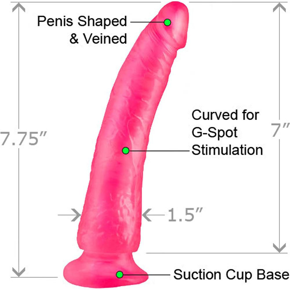 "Basix Rubber Works 7"" Slim Dong With Suction Cup Pink - View #1"