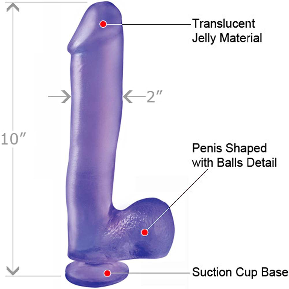 "Basix Rubber Works 10"" Ballsy Dong with Suction Cup Purple - View #1"
