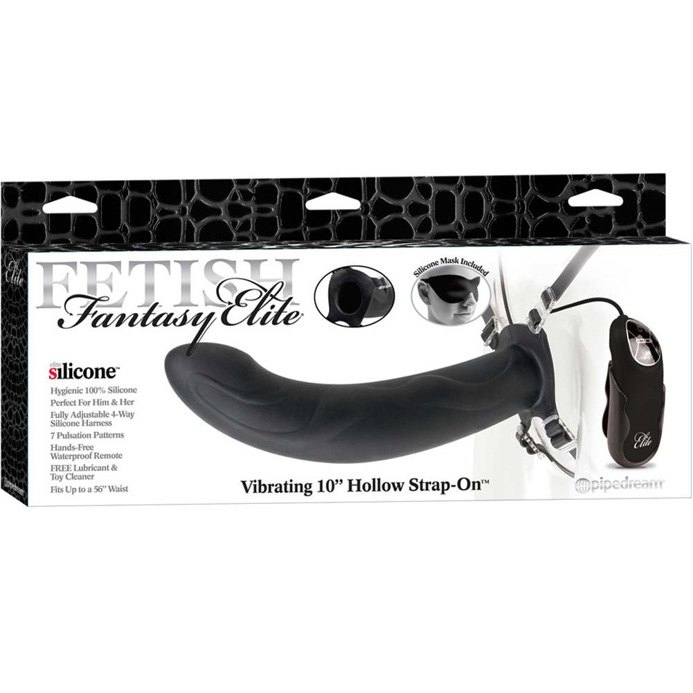 "Fetish Fantasy Elite 10"" Vibrating Hollow Strap-On Black - View #4"