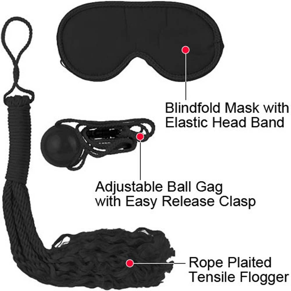 Fetish Fantasy Series Japanese Silk Rope Bondage Kit Black - View #1