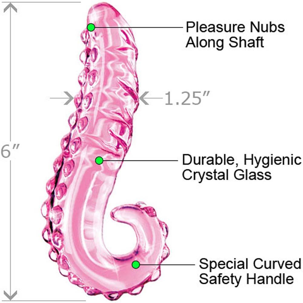 "Icicles No. 24 Glass G-Spot Curved Dong 6"" Light Pink - View #1"