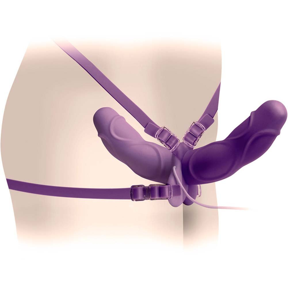 Fetish Fantasy Elite Vibrating Double Delight Strap-On Purple - View #2