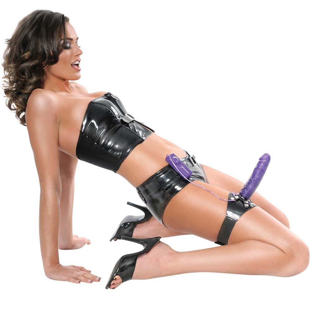 Fetish Fantasy Series Vibrating Thigh Strap-On Dong Purple - View #3