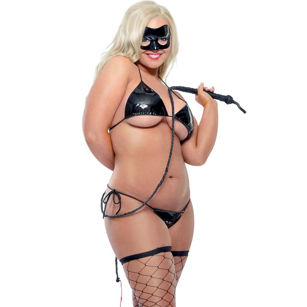 Fetish Fantasy Lingerie Karnal Kitty Set Plus Size Black - View #1