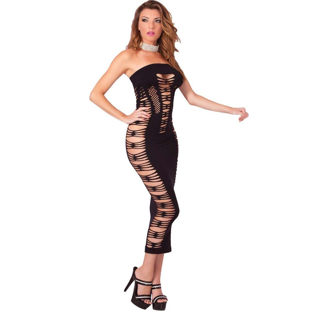 Pink Lipstick Big Spender Seamless Long Tube Dress One Size Black - View #1