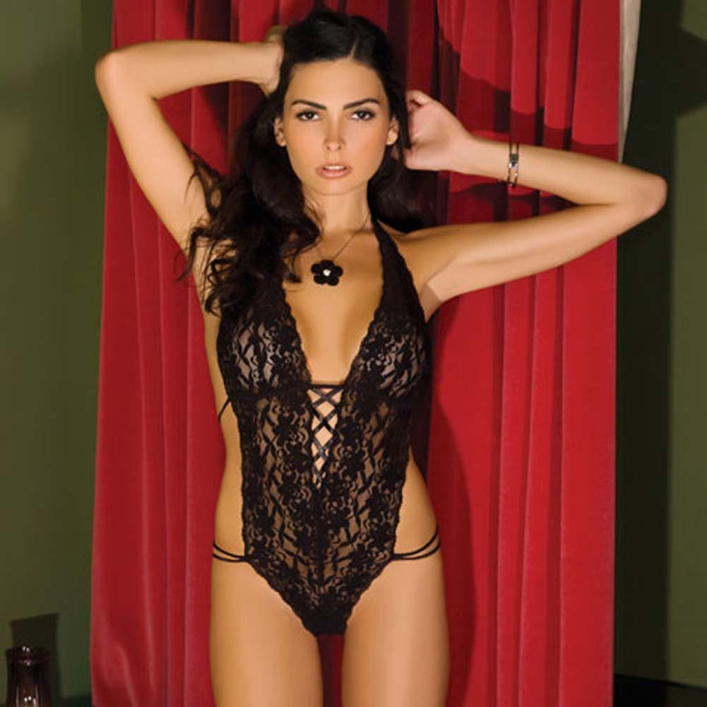 Lace Halter Teddy Black Medium/Large - View #1