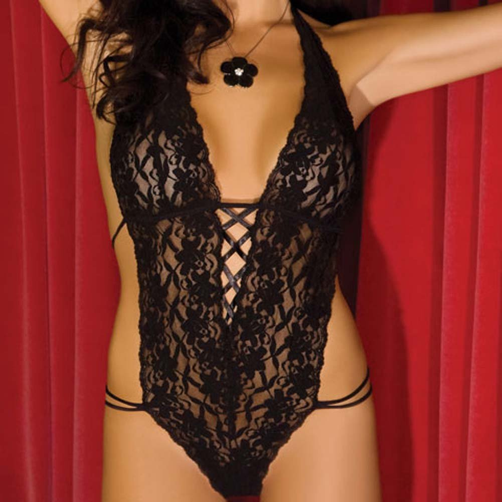 Lace Halter Teddy Black Medium/Large - View #3