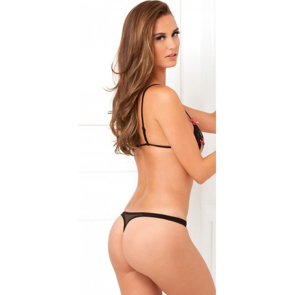 Rene Rofe Lace Peek-a-Boo Bra and Crotchless Thong Small/Medium Black - View #2