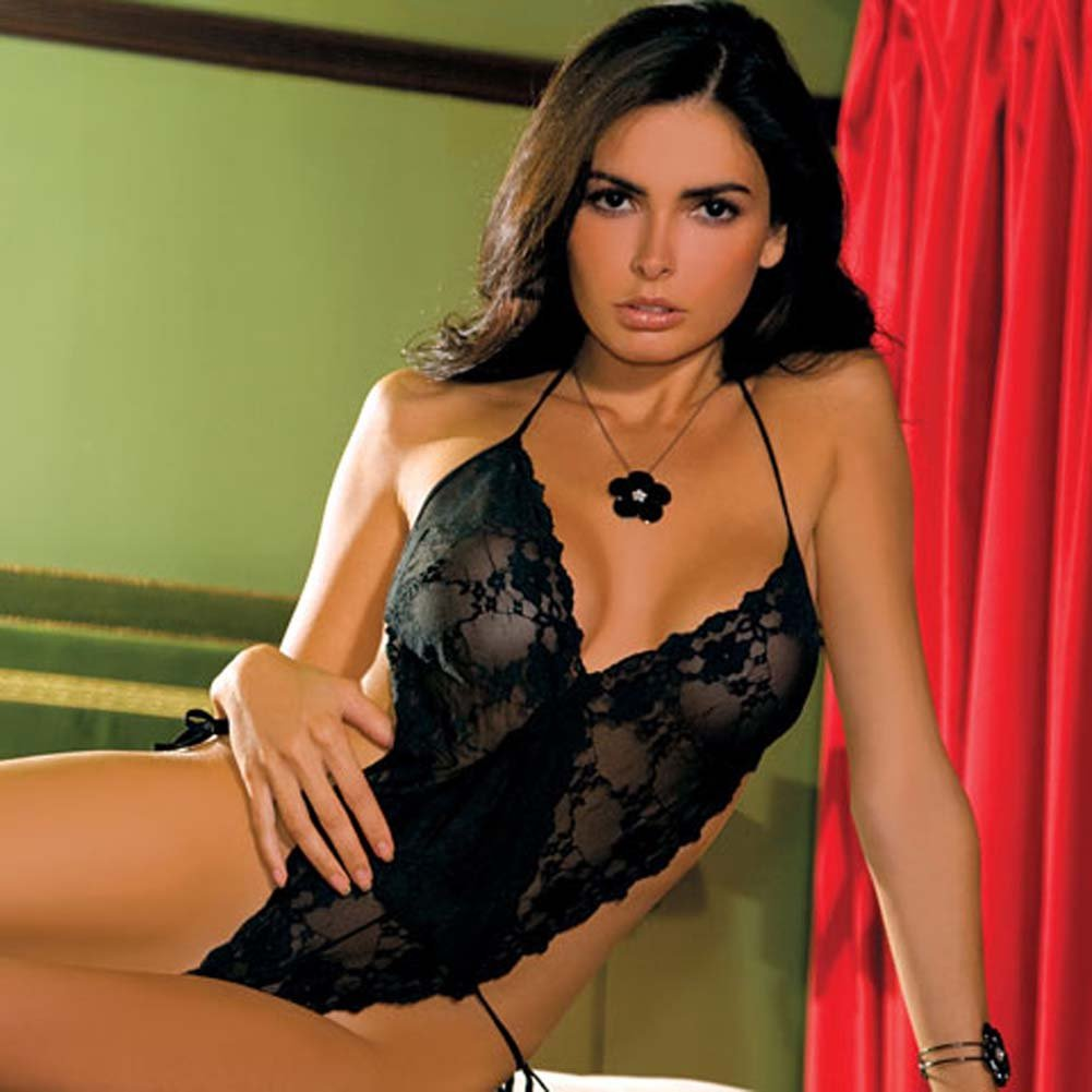 Sheer Lace Teddy Medium/toLarge Black - View #1