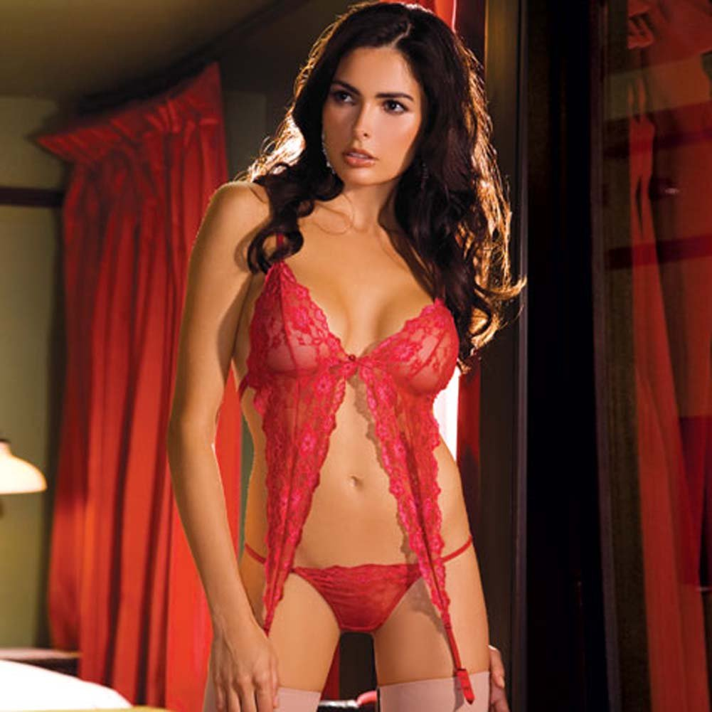 Passionate Lace Garter Bralet and Thong Set Red Small/Medium - View #1