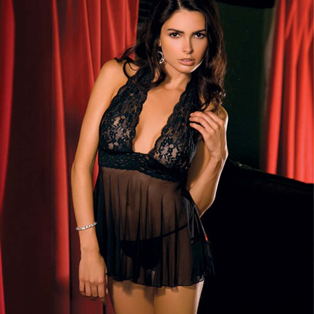 Lace and Mesh Halter Babydoll Dress and G-Strng Set Large Black - View #2