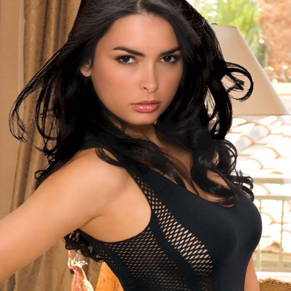Seamless Fishnet Chemise with Detachable Garters Black - View #3