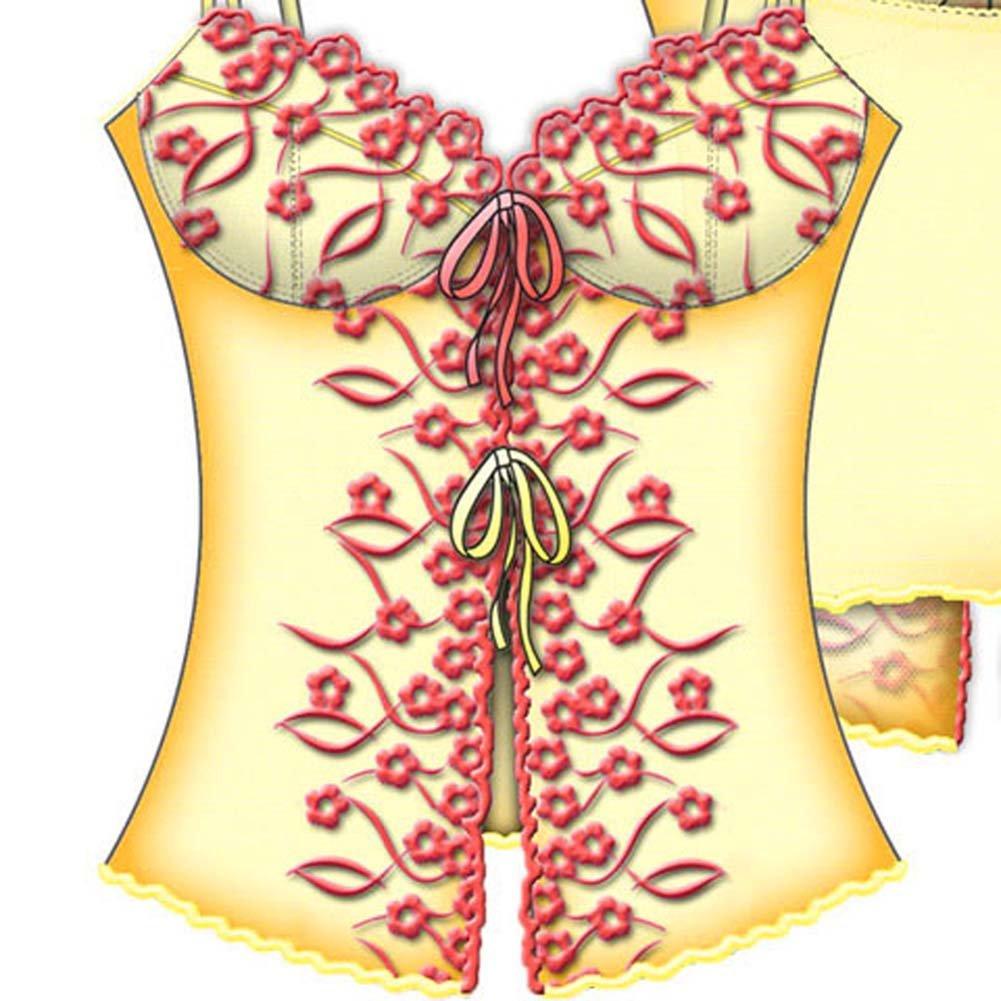 La Chiquitea Underwire Open Front Cami 34D Lemon Chiffon - View #3