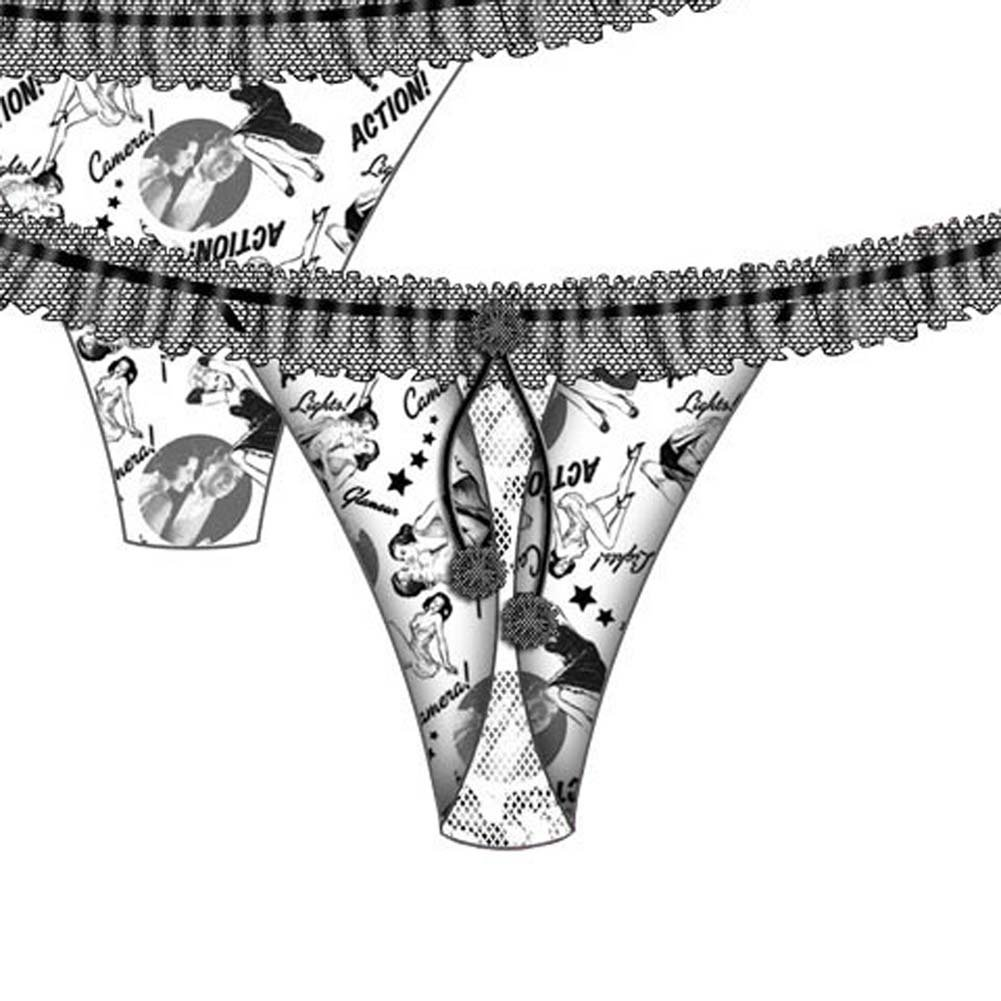 Silver Screen Ruffled Waist Thong Small - View #3