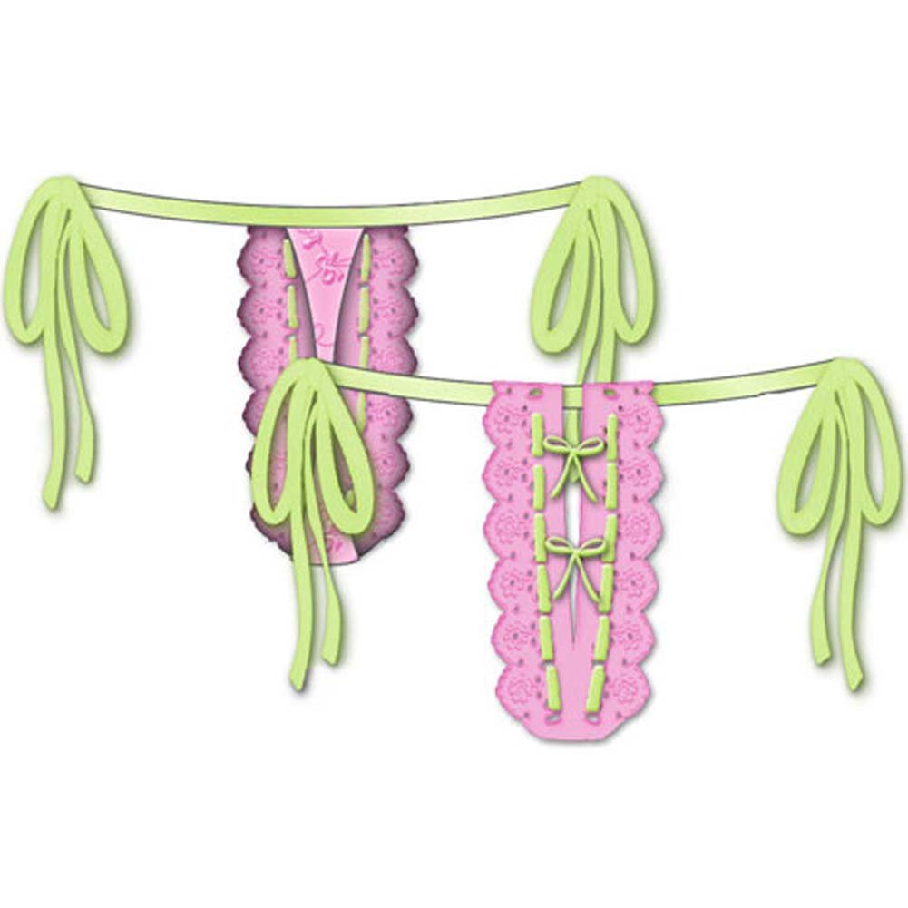 Lost In Paradise Tied Waist Thong Small Pink - View #2