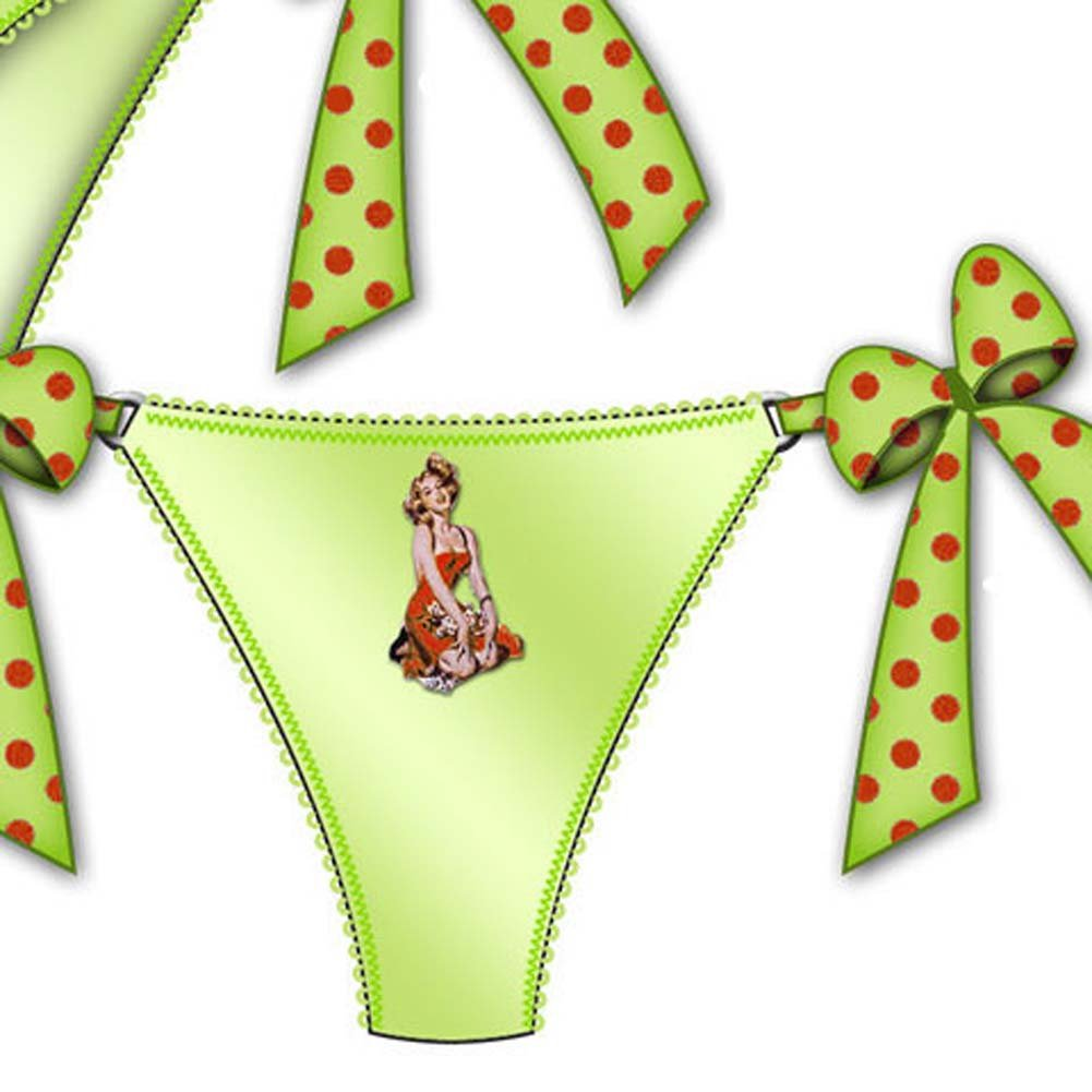 Centerfold Side Bow Thong Medium Green - View #2