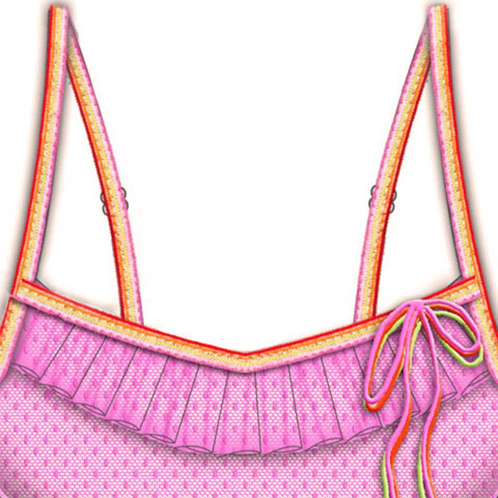 Necessary Objects Rainbow Bright Built in Bra Cami Large Fuchsia - View #2