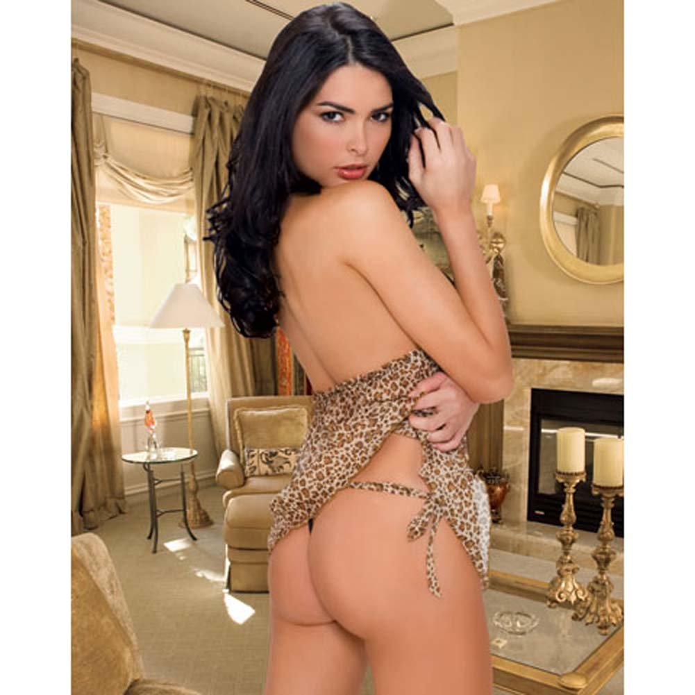 Leopard and Lace Halter Babydoll with Thong Small/Medium - View #2
