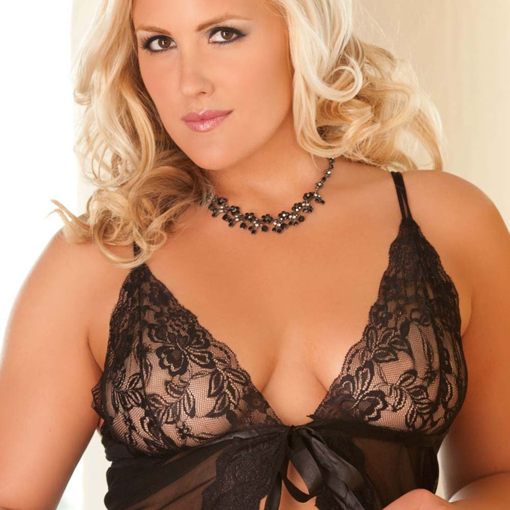 Sensuous Scallops Open Front Babydoll and Panty Plus Size - View #3