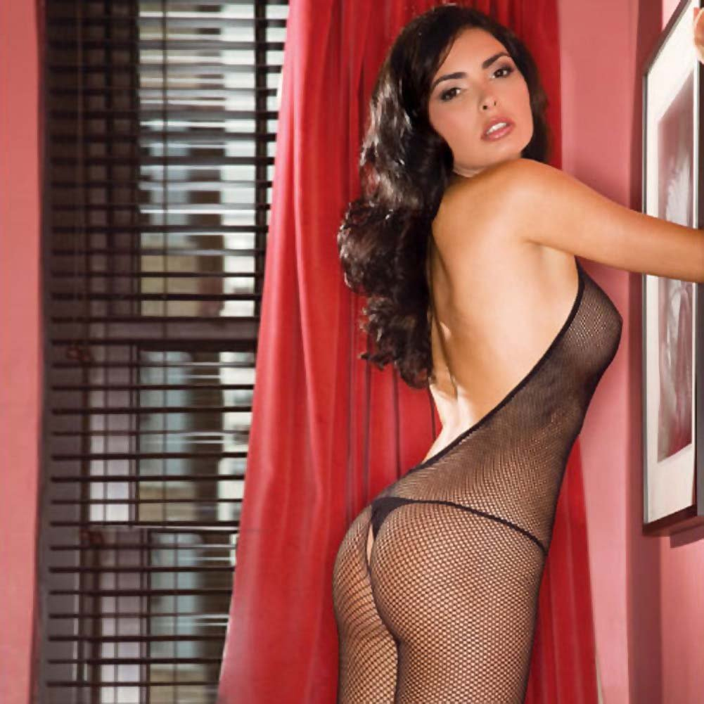 Foxy Low Back Halter Tied Net Bodystocking Plus Size Black - View #4