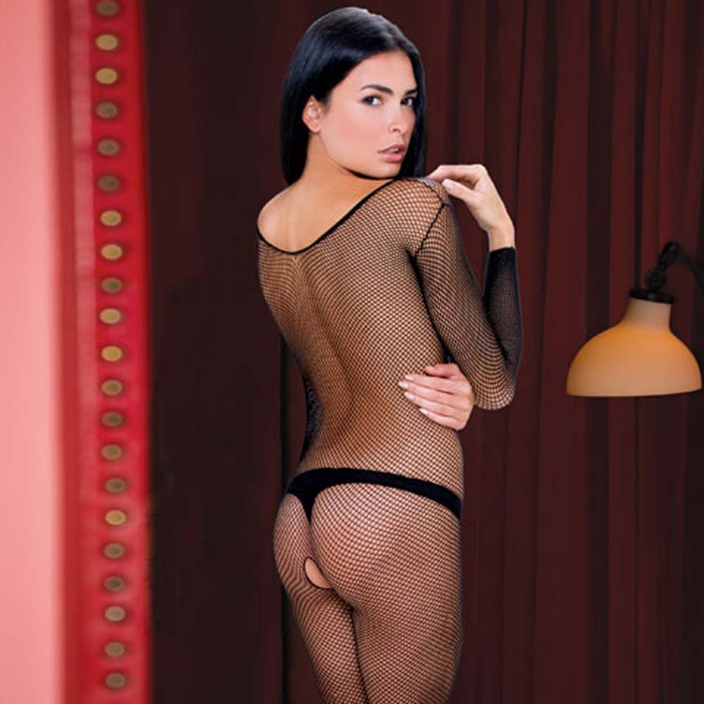 Extreme V Neck Long Sleeve Bodystocking One Size Black - View #4