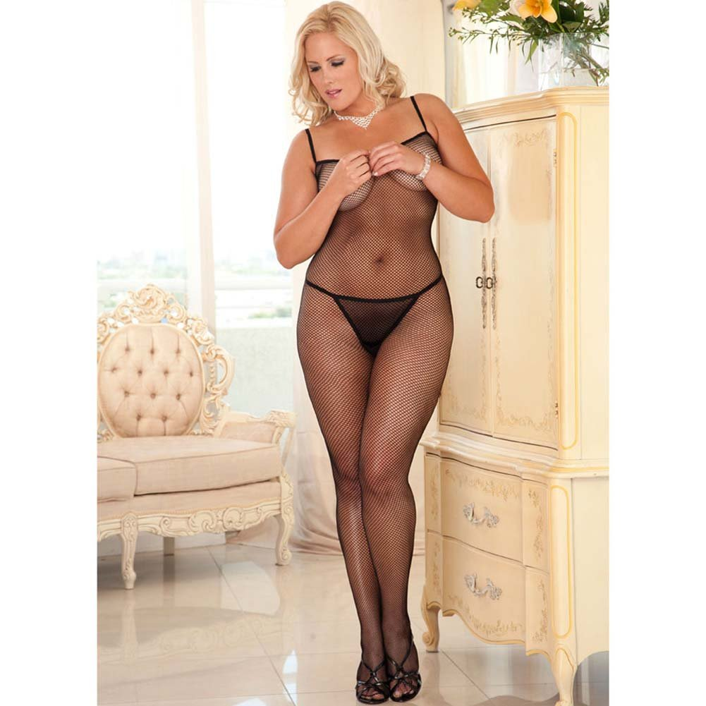 Chic Criss Cross Back Strap Bodystocking Plus Size - View #3
