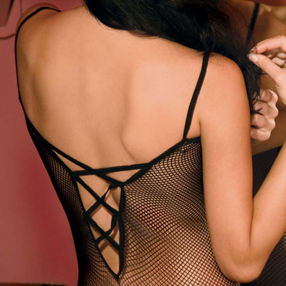 Criss Cross Backstrap Fishnet Bodystocking One Size Black - View #3