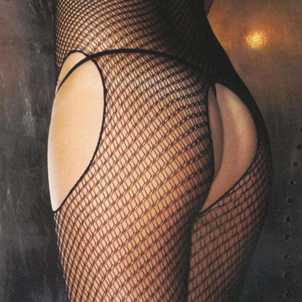 Sexy and Sensual Crotchless Fishnet Bodystocking Black - View #4