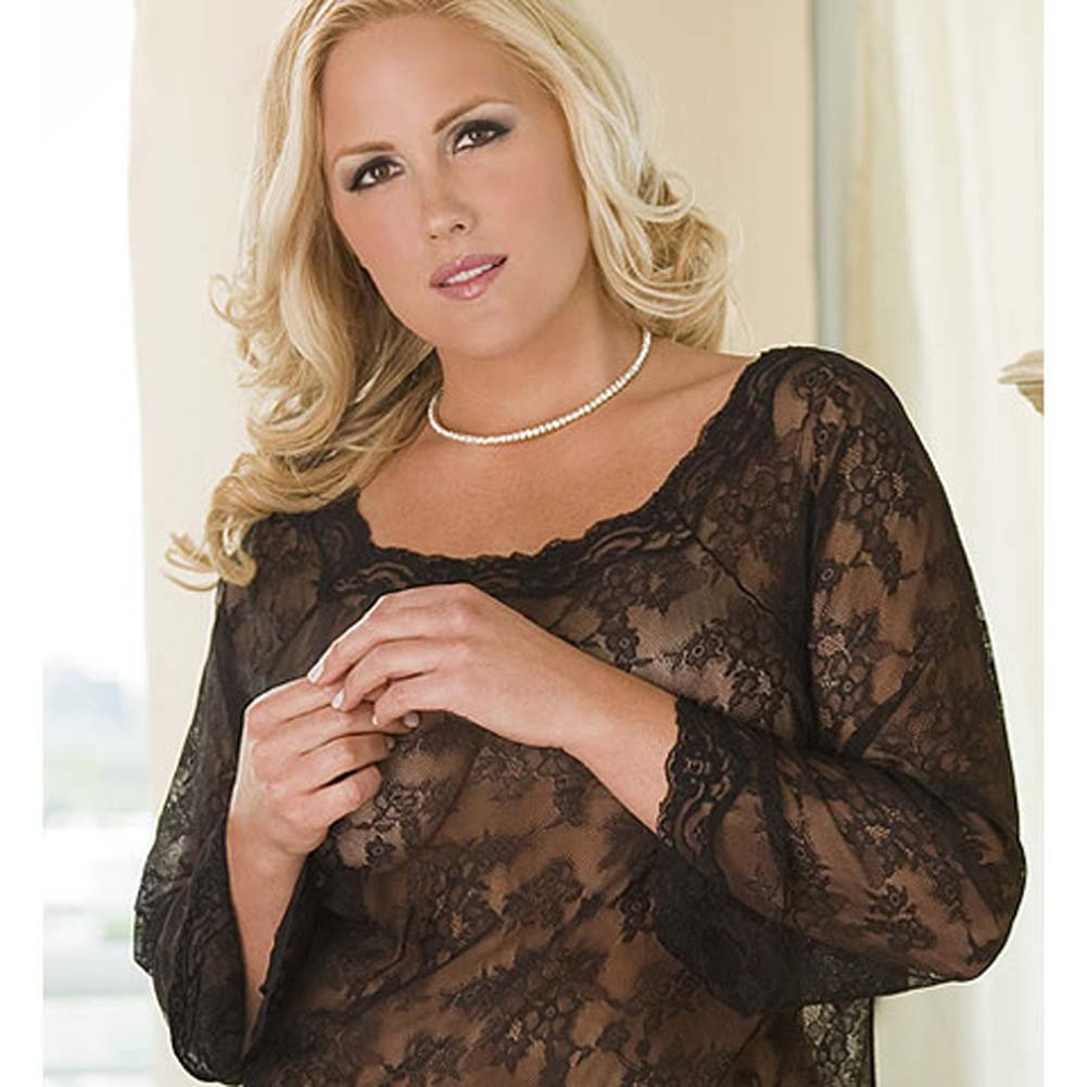 Lacey Long Sleeve Chemise Dress and Thong Set Plus Size - View #3