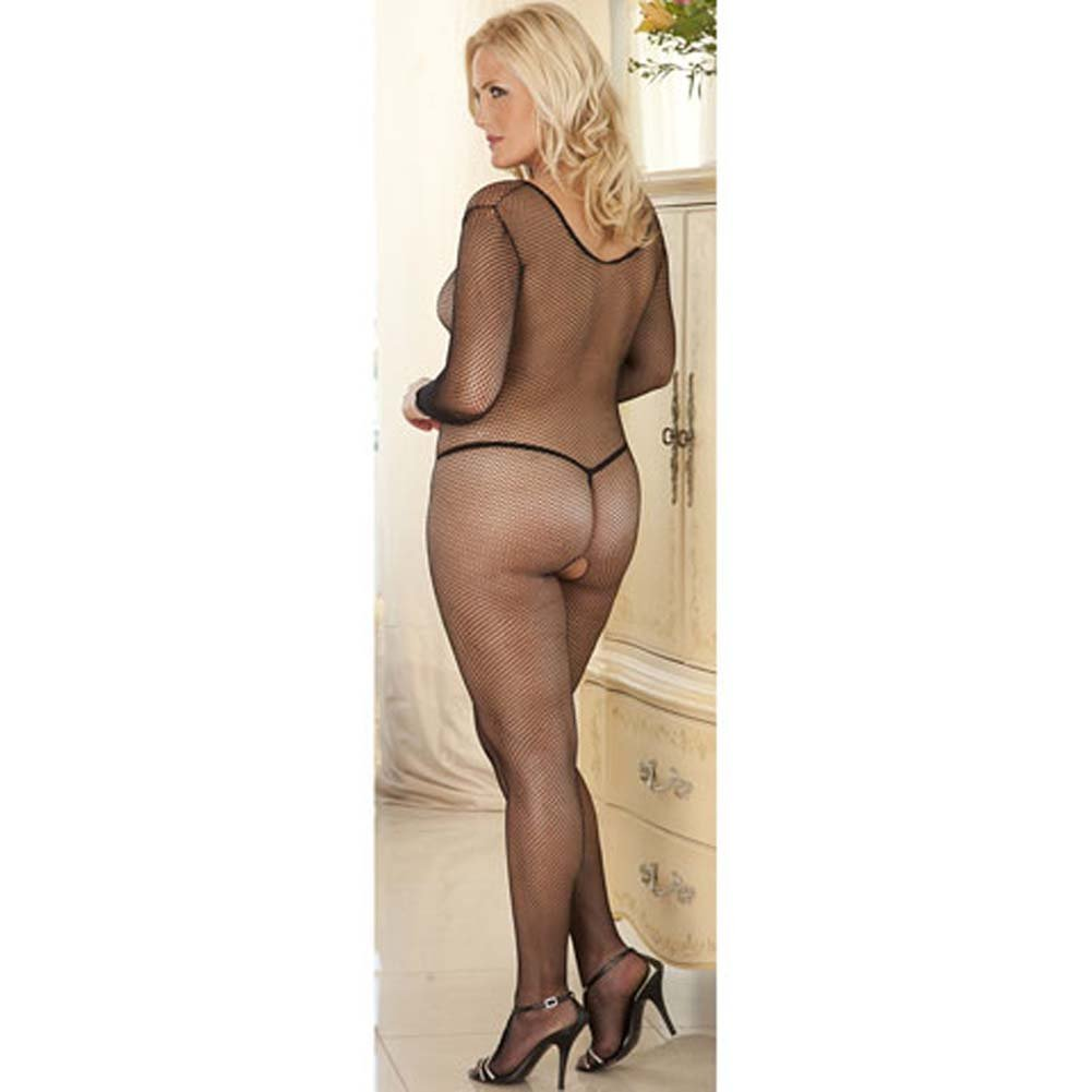 Very V Neck Long Sleeved Crotchless Bodystocking Plus Size - View #4