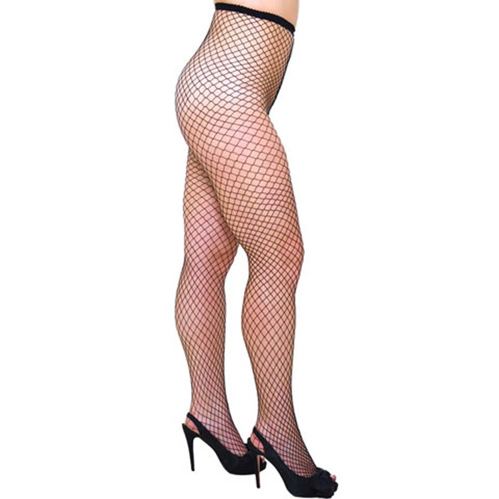 Seductive Large Diamond Net Pantyhose Plus Size Black - View #2