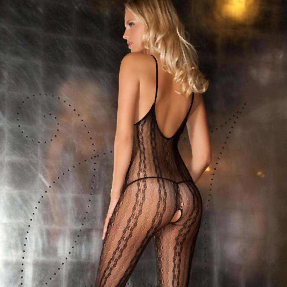 Rene Rofe Seductive Lace Bodystocking One Size Black - View #4