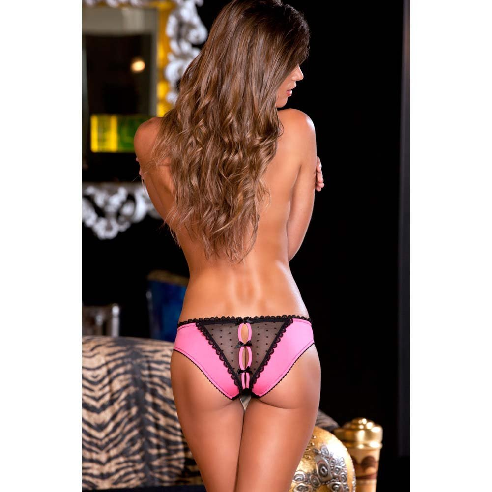 Crotchless Frills Panty with Back Bows Small-Medium Pink - View #4