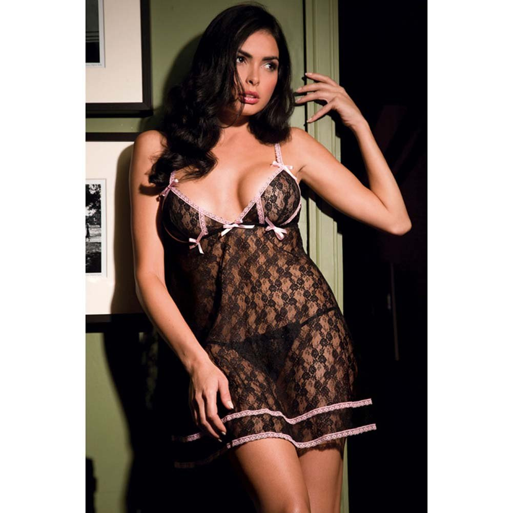 Angelic Allover Lace Babydoll and G-String Set One Size Black - View #1
