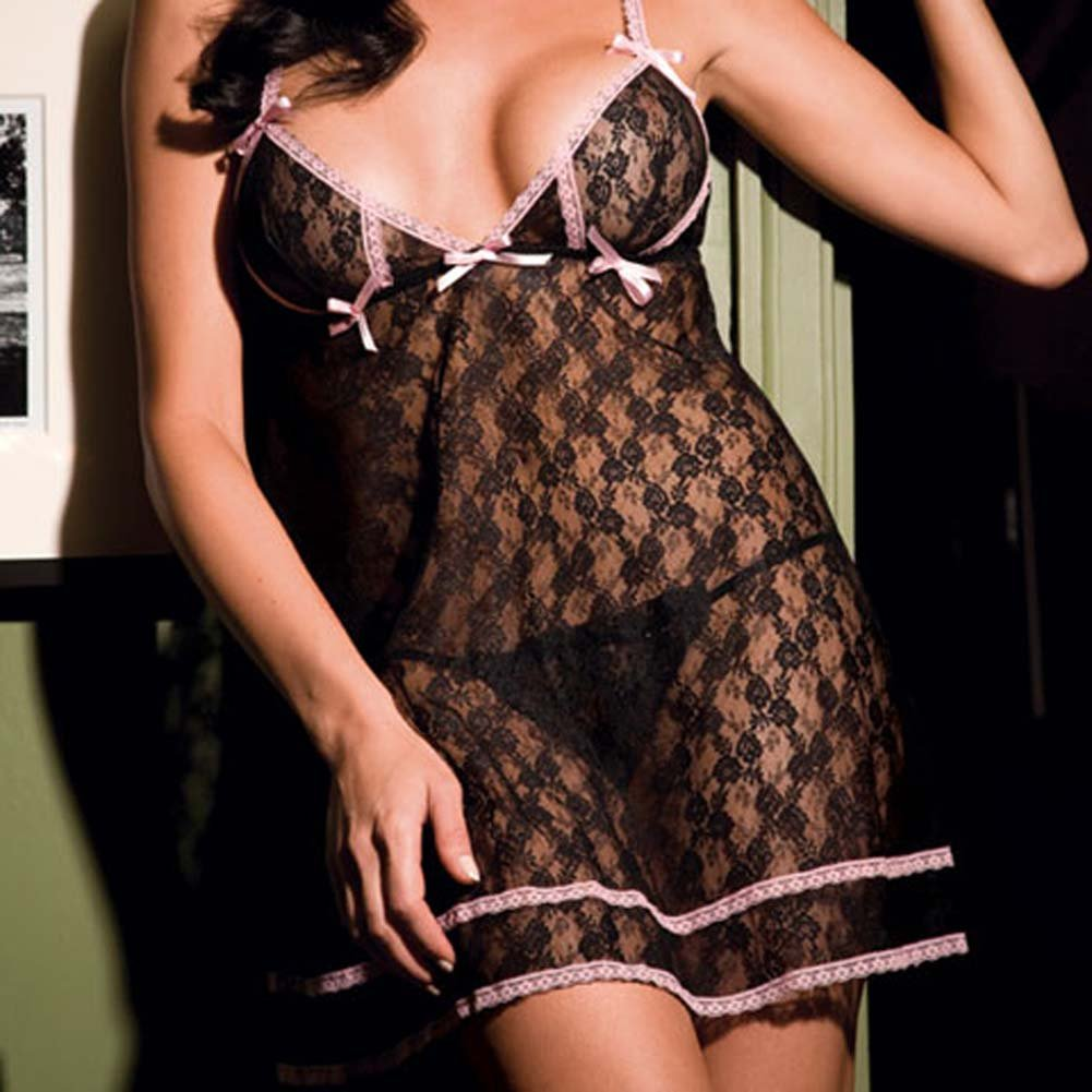 Angelic Allover Lace Babydoll and G-String Set One Size Black - View #3