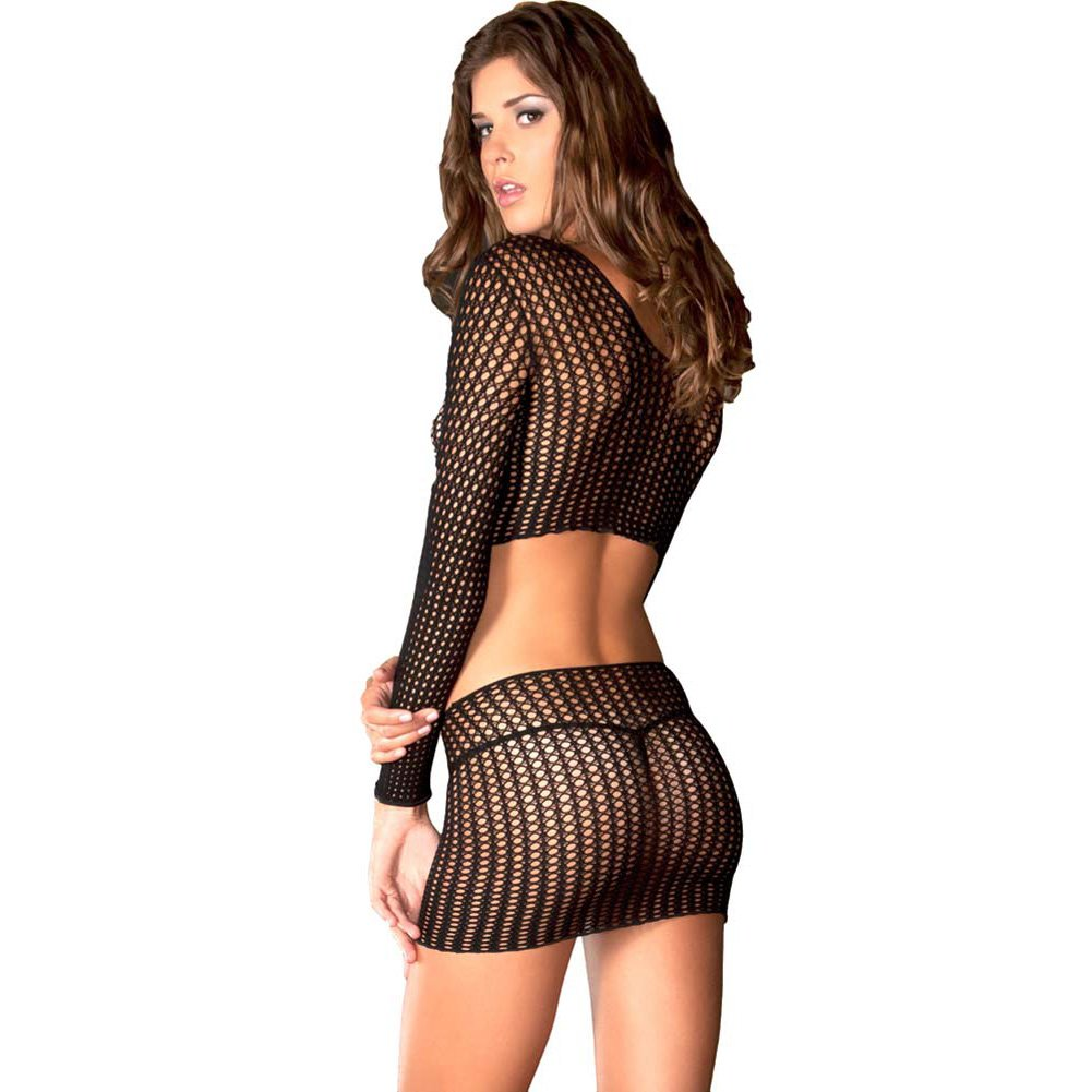 Rene Rofe Crochet Long Sleeved Crop Top with Matching Miniskirt One Size Black - View #2