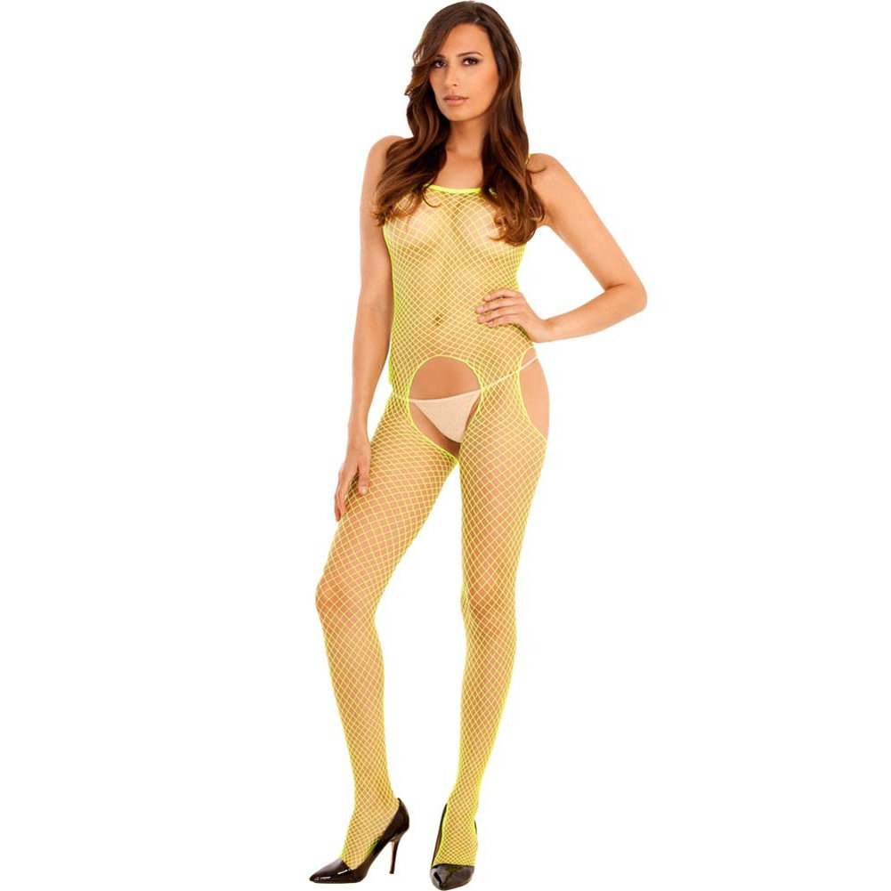Tank and Suspender Industrial Net Bodystocking One Size Lime - View #1