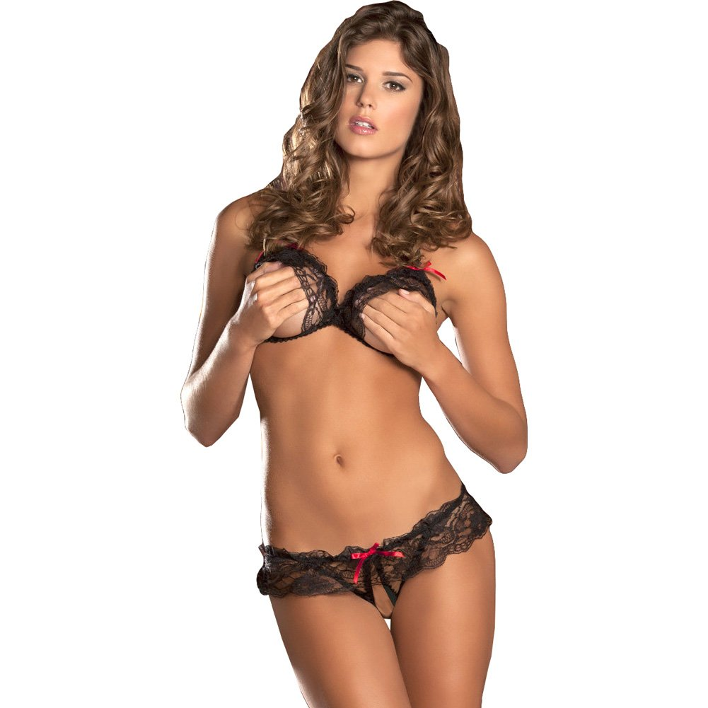 Lace Peek a Boo Bra Crotchless Panty Set Medium/Large Black - View #1