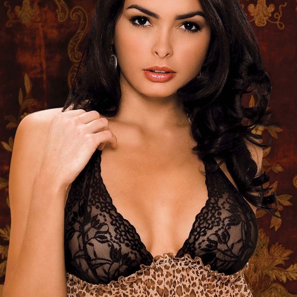 Leopard and Lace Bra and Skirted Thong Set Medium/Large - View #3