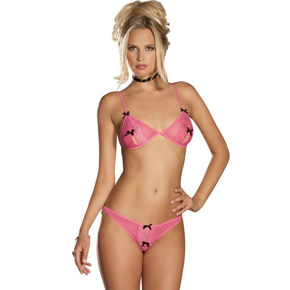 Rene Rofe Lace Peek A Boo Bra and Crotchless Thong Medium/Large Pink - View #1